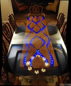 "Custom Made ""Pearls of Wisdom"" dining table with inlaid dyed resin"