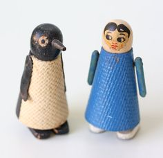 Vintage Penguin and Nurse Ramp Walker Walking Toys, Set of 2 What a sweet set of friends. The penguin, bless his heart, only has one eye. So he does