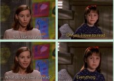 Matilda reading quotes & how Matilda meant a lot to me growing up. Childhood Movies, 90s Movies, Good Movies, Movie Tv, Tv Quotes, Movie Quotes, Geek Quotes, Ms Honey Matilda, Movies Showing