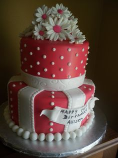 Like this cake but nix the flowers and put a bow instead.