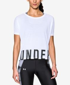 Under Armour Oversized Logo Training Top In White/black Ropa Under Armour, Under Armour Outfits, Under Armour T Shirts, Under Armour Women, Athletic Outfits, Athletic Wear, Sport Outfits, Gym Outfits, Training Tops