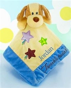 Perfect Puppy Security Blanket - http://www.gotobaby.com/ - Get this cute little Spunky Puppy blanket for babies personalized with their names.