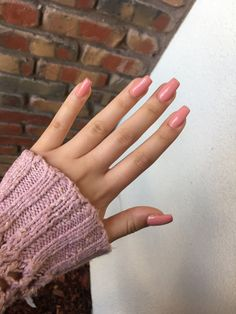Pink nude nails acrylics coffin peach spring nail