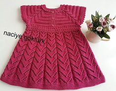Crochet Dress For Baby Girl Lace Dress Pattern, Crochet Baby Dress Pattern, Baby Dress Patterns, Crochet Lace Dress, Baby Girl Crochet, Baby Knitting Patterns, Girls Knitted Dress, Knit Baby Dress, Knitted Baby Clothes