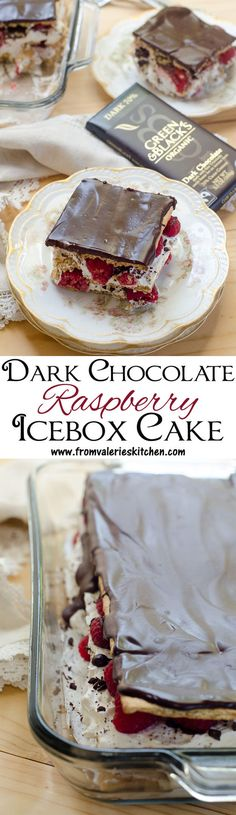 A traditional icebox cake dressed up with layers of sweetened mascarpone and fresh raspberries and topped with a rich, dark chocolate ganache! A beautiful and delicious summer dessert. ~ http://www.fromvalerieskitchen.com/wordpress