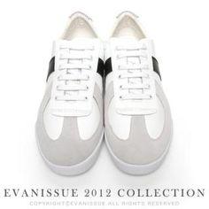 evanissue  Contrast Trim Genuine Leather Sneakers