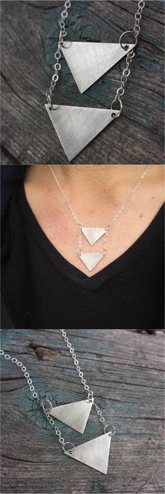 This one makes a statement. Geometric Minimalist Triangle Arrowhead Boho Necklace.  | Made on Hatch.co by jewelry designers who care.