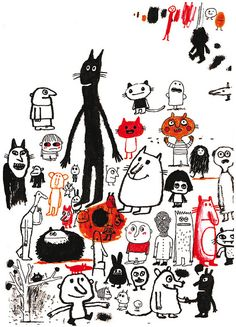 The fabulous Delphine Durand Art And Illustration, Character Illustration, Illustrations Posters, Doodle Drawings, Totems, Grafik Design, Cat Art, Illustrators, Graphic Art