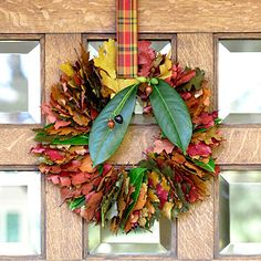 Wreath of Leaves-Fresh leaves or pliable dried ones from a crafts store work best. Cut a slit in the center of each leaf with small scissors; you can cut several at once. String the leaves onto a wire wreath form until full. Hang with pretty ribbon.