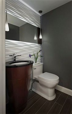 Youve come to the right spot if you are looking for inspirational powder room sink ideas or half bath designs. A powder room is a welcome feature to any home. Small Bathroom Sinks, Bathroom Layout, Bathroom Colors, White Bathroom, Mirror Bathroom, Bathroom Ideas, Bathroom Showers, Master Bathroom, Tile Accent Wall