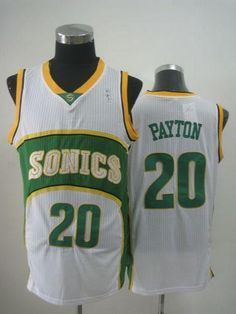 9221ddaf855 Thunder  20 Gary Payton White SuperSonics Throwback Stitched NBA Jersey