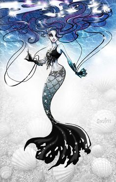 Gothic Siren by Zoratrix. Pretty sure that's Sirena Von Boo from Monster High. Monster High School, Monster High Art, Monster High Characters, Monster High Dolls, Monster Girl, Anime Mermaid, Siren Mermaid, Mermaid Art, Mermaid Sketch