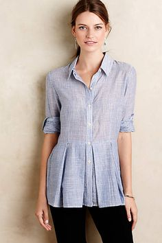 "Pleated peplum button-down shirt by Tylho ($98) - style no. 4110226840024. XXSP. Color: Sky. Petite: 25.25"" L. Woven cotton. Machine wash."