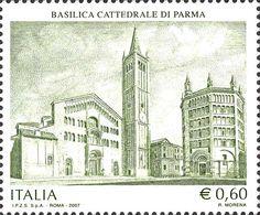 2007 -  Il patrimonio artistico e culturale italiano: 900º anniversario della Cattedrale di Parma - Facciata della Basilica Cattedrale di Parma con il Battistero