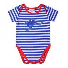 Aussie Kangaroo Blue Striped Bodysuit (sizes 000 to 1) - Australia Day outfit