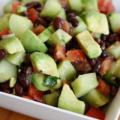 Black Bean, Avocado, Cucumber and Tomato Salad Recipe #vegan