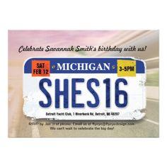 #Girl's 16th Birthday Michigan License Invitation - #birthday #gift #present #giftidea #idea #gifts
