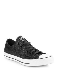 Converse Lace-Up Leather Shimmer Sneakers Women's Black 7.5
