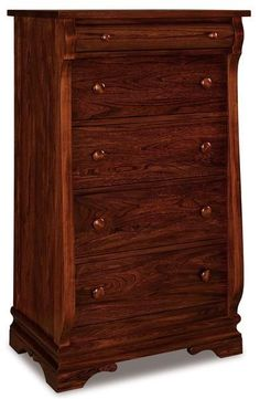 Amish Chippewa Sleigh Five Drawer Chest of Drawers Fine wood storage for bedroom. Love sleigh style furniture? Build this chest in the wood, stain and hardware that match your bedroom best. #chestofdrawers #storage