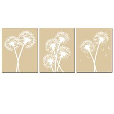 Modern Dandelion Trio  Set of Three Dandelion Floral by Tessyla, $55.00