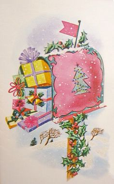 Colorful unused Pollyanna Christmas card pink mail box decorated with holly berry christmas tree stuffed w/ gifts glitter, mica, Painted Christmas Cards, Christmas Cards To Make, Vintage Christmas Cards, Vintage Holiday, Xmas Cards, Vintage Cards, Holiday Cards, Vintage Images, Greeting Cards
