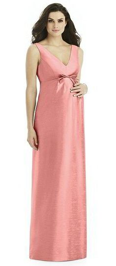 Alfred Sung Maternity Bridesmaid Dress Style M438 In Apricot