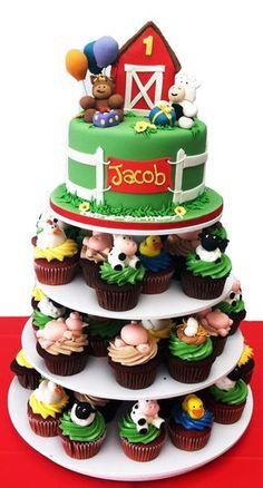 Birthday Cake Kids Boys, Farm Birthday Cakes, New Birthday Cake, Farm Animal Birthday, Birthday Banners, Birthday Invitations, Birthday Parties, Farm Animal Cupcakes, Animal Cakes