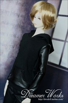[DWS] SD / BJD doll clothes / baby clothes ★ black leather stitching sweater 1 / 4,1 / 3, uncle - Taobao