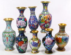 Lot 561: Asian Cloisonne Vase Assortment; Including eight large to medium size vases with stylized floral motifs