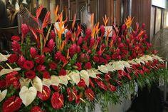 Altar Flowers, Church Flowers, Funeral Flowers, Unique Flowers, Tropical Flower Arrangements, Funeral Flower Arrangements, Tropical Flowers, Wedding Altar Decorations, Flower Decorations