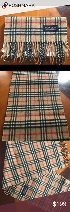 """100% cashmere authentic Burberry scarf Vintage 100% Pure Cashmere Nova Check Scarf made by Burberrys in England. Extra warm for the winter! 52"""" by 11"""". Slight pilling, see last two pics for wear Burberry Accessories Scarves & Wraps"""