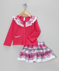 Hot Pink Plaid Lace Ruffle Top & Skirt - Infant & Toddler