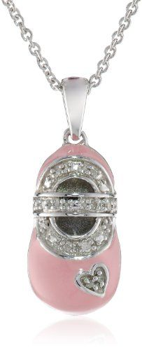 Alov jewelry sterling silver always my daughter forever my friend sterling silver diamond accent baby pink enamel shoe pendant necklace i j color i2 aloadofball Choice Image