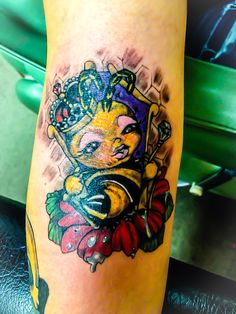 Queen Bee tattoo on the inside of the elbow. Done by Mallory at Blazing Angels in Shamokin, PA
