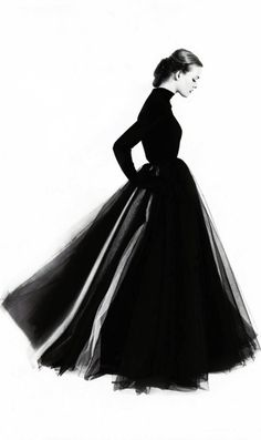 by Norman Parkinson ~ Remember when Sharon Stone [?] blew everyone away w her full, long black skirt and black, Gap tee? Love!