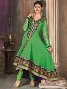 Green Georgette Anarkali Suit With Resham Work http://www.saree.com/salwar-kameez/style/anarkali