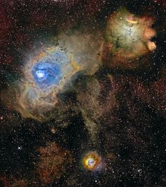 M8, above and right of center, and compact M20 at the left. The third, NGC 6559, is at bottom right. Over a hundred light-years across, M8 is also known as the Lagoon Nebula. Divided by obscuring dust lanes, M20's popular moniker is the Trifid. In the composite image, narrow emission lines from sulfur, hydrogen, and oxygen atoms recorded through the filters, are mapped into broader red, green, and blue colors respectively. The color scheme was made popular in Hubble Space Telescope images.