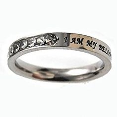 "Christian Women's Stainless Steel Absitnence Princess Cut ""I Am My Beloved's and He Is Mine"" Songs of Solomon 6:3 Comfort Fit 3mm Cubic Zirconium Chastity Ring for Girls - Girls Purity Ring - Stackable  http://electmejewellery.com/jewelry/rings/stacking/christian-women39s-stainless-steel-absitnence-princess-cut-i-am-my-beloved39s-and-he-is-mine-songs-of-solomon-63-comfort-fit-3mm-cubic-zirconium-chastity-ring-for-girls-girls-purity-ring-stackable-com/"