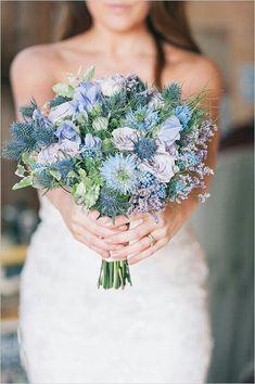 Bride's Blue & Purple Wedding Bouquet Showcasing: Fresh Lavender, Pastel Lavender Roses, Light Lavender & Light Blue Sweet Peas & Blue Eryngium Thistle~~