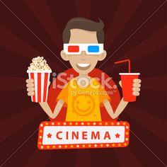 Teenager smiles in 3D glasses Royalty Free Stock Vector Art Illustration