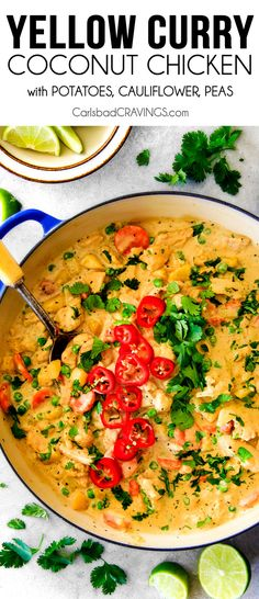 This EASY Thai Yellow Curry with Chicken tastes straight out of a restaurant! Its wonderfully thick and creamy, bursting with flavor and veggies (I highly recommend the listed potatoes, cauliflower and peas) and all made in one pot! Definitely a hit at our house!