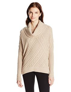BCBGMAXAZRIA Women's Linden Cable Pullover Sweater with Cowl Neck, Heather Camel, Medium