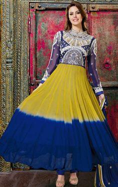 Appealing Navy Blue and Yellow Designer Salwar Kameez IDE96725629 - www.indianwardrobe.com