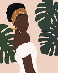 Mulher negra com folhagens