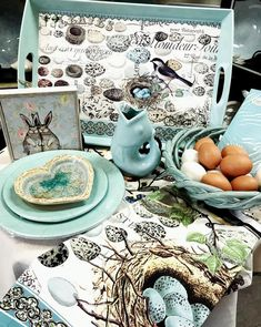 We love this image posted by using our Nest & Eggs collection. Just a sweet, spring tableau in Robin's Egg blue. Pulls in both spring and Easter without being overt. Shop Displays, Egg Decorating, Our Love, Nest, It Works, Eggs, Party Ideas, Easter, Decorations