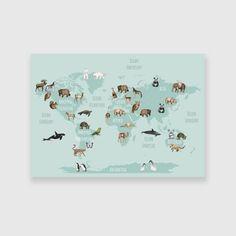 Obraz z mapą i zwierzętami na ścianę