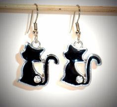 Ohrringe Katze Damen Ohrschmuck Modeschmuck Hänger Durchzieher schwarz