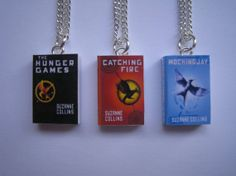 The Hunger Games Miniature Book Pendant Necklaces - Whole set of 3 ((The Hunger Games - Catching Fire - Mockingjay)) on Etsy, £10.50