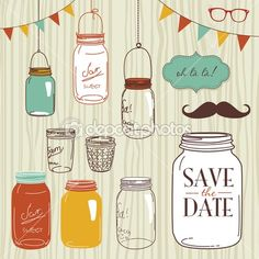 Glass Jars, frames and cute seamless