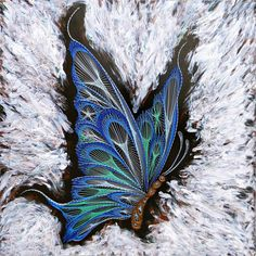 String Art Blue Butterfly. Nail art Wood wall art Wall decor. Unique butterfly wings insect art nature art with acrylic paint, ready to hang